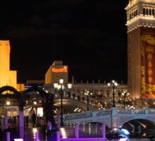 Lighting Up the Night in Neon - Colorful Canals and Gondolas at the Venetian Las Vegas Sticker