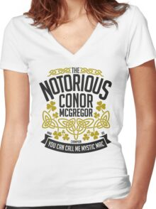 Conor McGregor Crest [B_G] Women's Fitted V-Neck T-Shirt