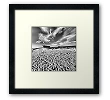 Beach Boat Snow Framed Print