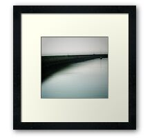 Boat in Marina Sea Mist Framed Print