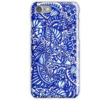 Modern blue handdrawn watercolor floral mandala iPhone Case/Skin
