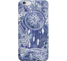 Blue modern dreamcatcher feathers floral doodles  iPhone Case/Skin