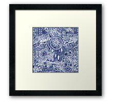 Blue modern dreamcatcher feathers floral doodles  Framed Print