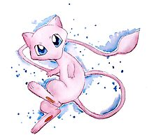 Watercolor Pokemon - Mew #151 Photographic Print