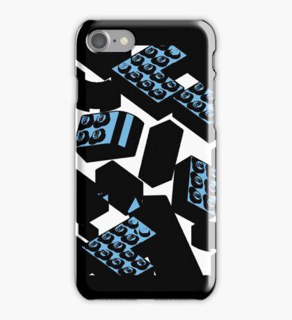 Drawn Blue Legos iPhone Case/Skin