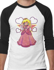 Hearts and Princess Peach Men's Baseball ¾ T-Shirt