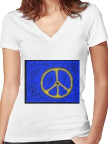 Everlasting Peace COLORIZED HALF-TONE Women's Fitted V-Neck T-Shirt