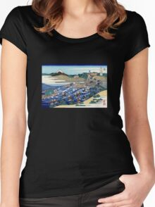 'Fuji From Kanaya on Tokaido' by Katsushika Hokusai (Reproduction) Women's Fitted Scoop T-Shirt
