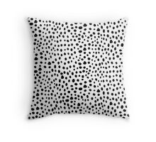 Modern Black and White Hand Drawn Polka Dots Throw Pillow