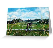 Dragonfly on barbed wire Greeting Card