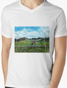 Dragonfly on barbed wire Mens V-Neck T-Shirt