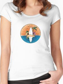 Surfing Hawaii Colour T Shirt Women's Fitted Scoop T-Shirt