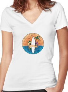 Surfing Hawaii Colour T Shirt Women's Fitted V-Neck T-Shirt