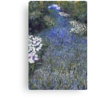 Impressionist Blue Flower Forest Path Canvas Print