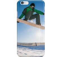 Snowboarder jumping against blue sky iPhone Case/Skin