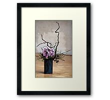 Hydrangea in Vase on Wooden Floor Watercolor Framed Print