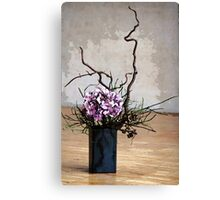 Hydrangea in Vase on Wooden Floor Watercolor Canvas Print