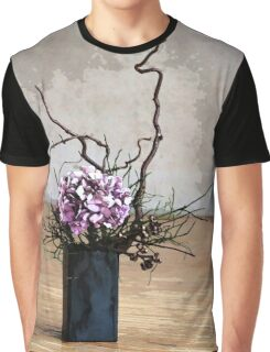Hydrangea in Vase on Wooden Floor Watercolor Graphic T-Shirt