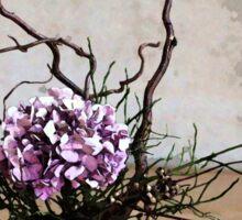Hydrangea in Vase on Wooden Floor Watercolor Sticker