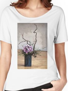 Hydrangea in Vase on Wooden Floor Watercolor Women's Relaxed Fit T-Shirt
