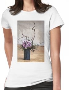 Hydrangea in Vase on Wooden Floor Watercolor Womens Fitted T-Shirt