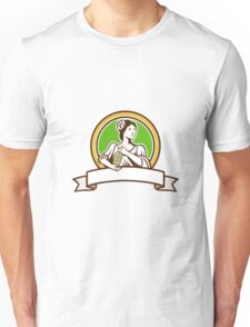Vintage Lady Holding Grapes Circle Retro Unisex T-Shirt