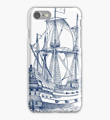 Ship Galleon sailboat engraving iPhone Case/Skin