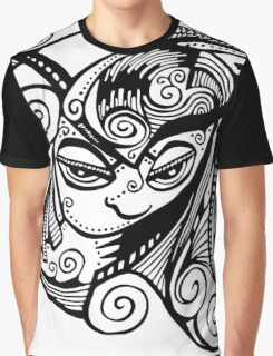 Sleepy Eyed Face with Swirly Hair Graphic T-Shirt