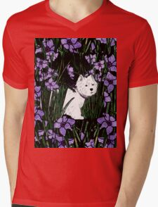 Westie in the garden Mens V-Neck T-Shirt