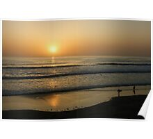 California Surfing Sunset - Pacific Beach, San Diego, California Poster