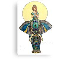 Zen Yoga Elephant Metal Print