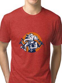 Elephant Builder Plumber Mechanic Painter Circle Retro Tri-blend T-Shirt