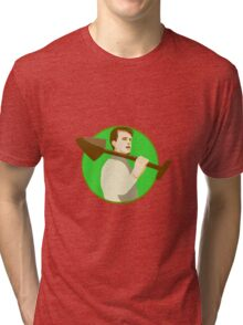 Gardener Shovel On Shoulder Circle Retro Tri-blend T-Shirt