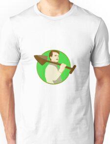 Gardener Shovel On Shoulder Circle Retro Unisex T-Shirt
