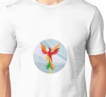 Phoenix Rising Burning Tree Circle Retro Unisex T-Shirt