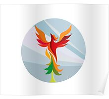 Phoenix Rising Burning Tree Circle Retro Poster