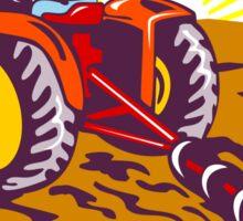 Farmer On Tractor Circle Retro Sticker