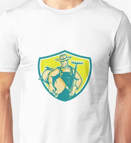 Organic Farmer Rake Sack Shield Woodcut Unisex T-Shirt