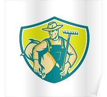 Organic Farmer Rake Sack Shield Woodcut Poster