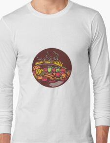 Orchard Crop Harvest Circle Woodcut Long Sleeve T-Shirt
