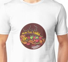 Orchard Crop Harvest Circle Woodcut Unisex T-Shirt