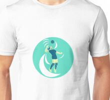 Volleyball Player Spiking High Circle Retro Unisex T-Shirt