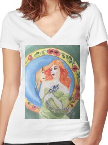 snake woman Women's Fitted V-Neck T-Shirt