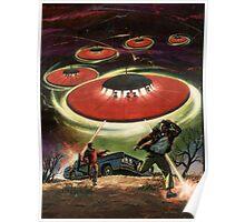 UFO attack! Classic Comic Cover Art Poster