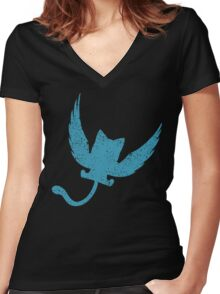 Blue Happy, Fairy Tail Anime Women's Fitted V-Neck T-Shirt