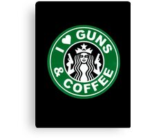 I love gun and cofee Canvas Print