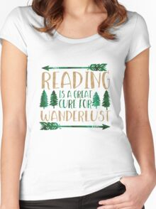 Reading is a Great Cure for Wanderlust (Green/Brown) Women's Fitted Scoop T-Shirt