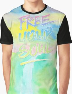 Free Your Soul Watercolor Colorful Spring Waterfall Painting Graphic T-Shirt