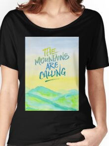 The Mountains Are Calling Yellow Blue Sky Watercolor Painting Women's Relaxed Fit T-Shirt