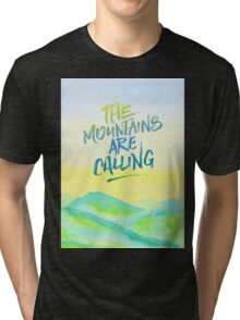 The Mountains Are Calling Yellow Blue Sky Watercolor Painting Tri-blend T-Shirt